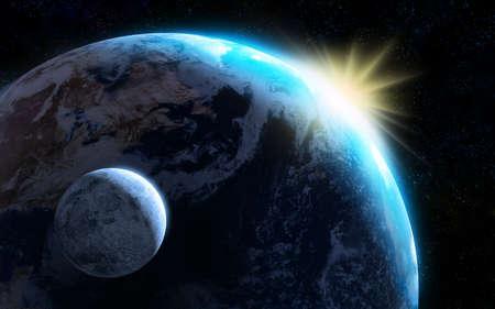 Raising soleil �clairant notre plan�te et la lune. Digital illustratio