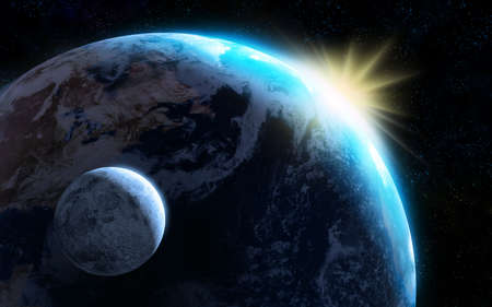 gravitational: Raising sun illuminating our planet and moon. Digital illustratio Stock Photo