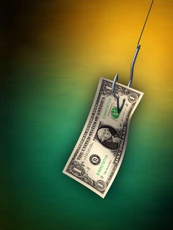 Dollar bill hanging from a hook. Digital illustration. illustration
