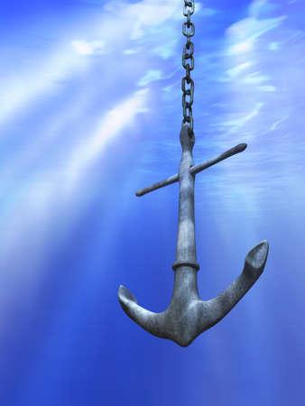 ship anchor: Underwater light rays illuminating a metal anchor. Digital illustration.