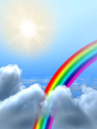 Rainbow passing through some clouds. Digital illustration. Stock Illustration - 3991764