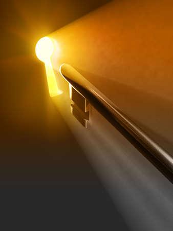 Chaude lumi�re passant par un trou de serrure. Illustration num�rique.