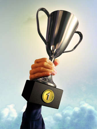 winning first: Male hand holding a trophy. Digital illustration.