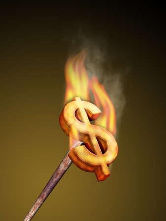 burning money: Hot metal dollar brander. Digital illustration.