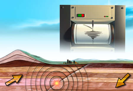 землетрясение: Earthquake schematic showing an earth cross-section and a seismograph. Digital illustration.