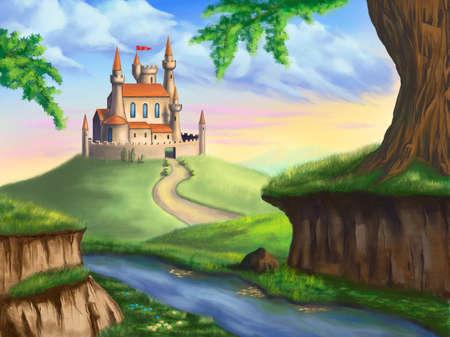 castillos de princesas: Un castillo de fantas�a en un hermoso paisaje. Ilustraci�n digital original.