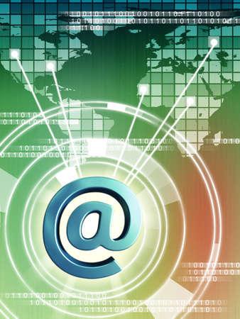 E-mail streams connecting different world regions. Digital illustration Stock Illustration - 3991786