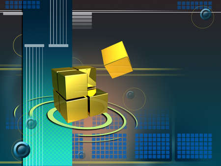 larger: Cubes forming a larger structure in cyberspace. Digital illustration