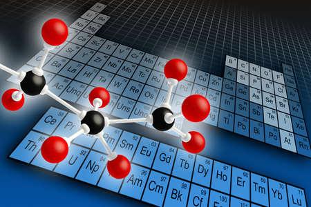 atomo: Mol�cula de la estructura y la tabla peri�dica de elementos. Ilustraci�n digital.