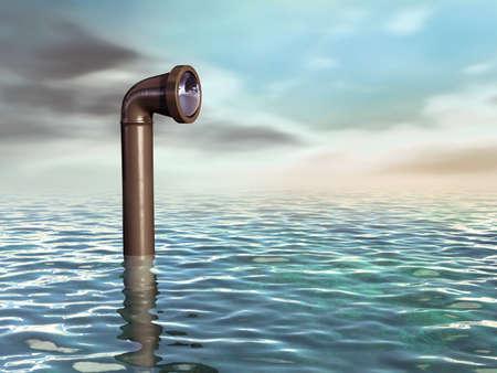 Periscope emergenti da una superficie di acqua. Illustrazione digitale.