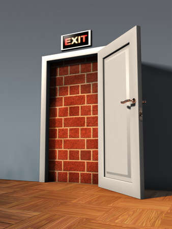 to stumble: Exit door blocked by a brick wall. Digital illustration.
