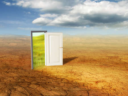 dimension: An open door revealing a different dimension. Digital illustration. Stock Photo
