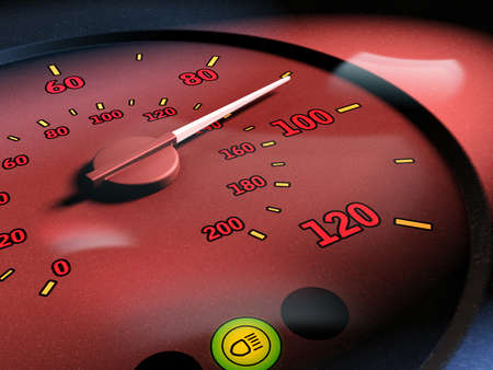 tachymeter: Increasing speed measured by a tachymeter. Digital illustration. Stock Photo