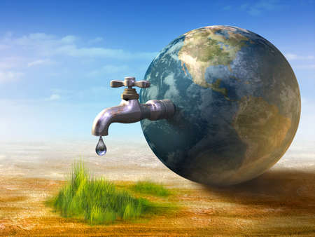 Earth water resources generating new life. Digital illustration. Stock Photo