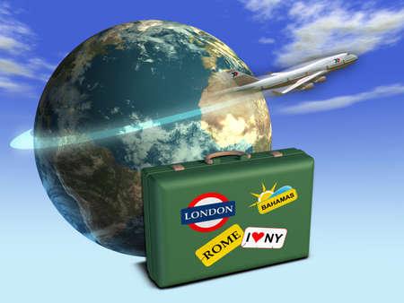 Voyage � th�me, y compris la composition de la Terre, un bagage et d'un avion. Digital illustration.