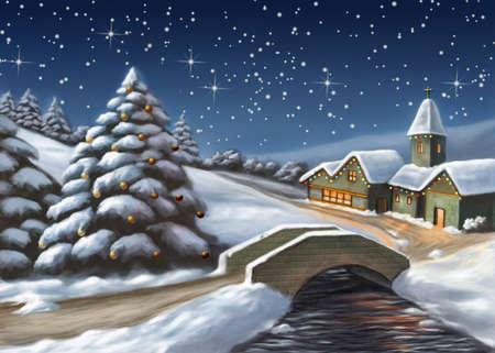 Enchanted Christmas landscape. Digital illustration. Stock Photo