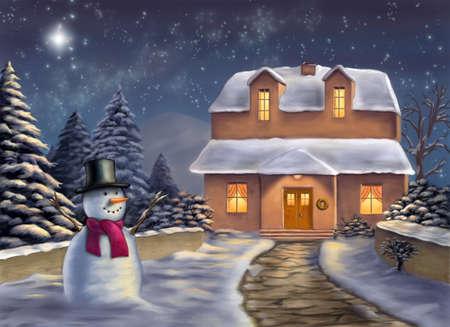 religious clothing: Christmas landscape at night. Original digital illustration.