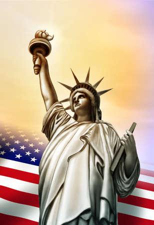 lady liberty: Estatua de la libertad y la bandera de Estados Unidos. Ilustraci�n digital original.