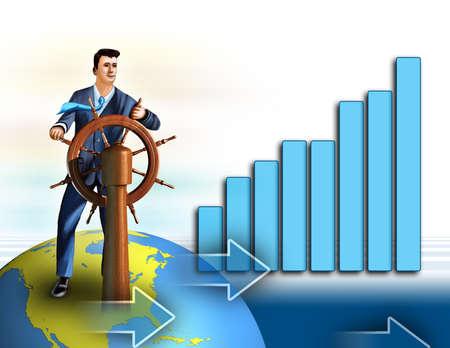 Bussinessman as a simbol of economical growth. Digital illustration.