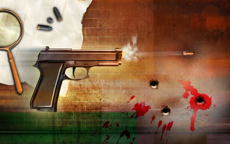 Criminality themed composition, showing a firing gun and some bullet holes. Digital illustration. illustration