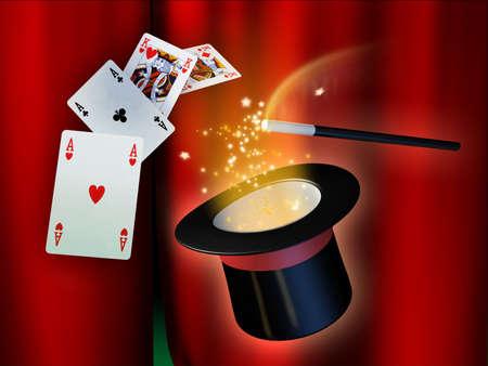wahrsager: Einige Illusionist Instrumente f�r eine magische Show. Digital Illustration.
