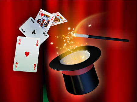 game show: Some illusionist tools for a magical show. Digital illustration. Stock Photo