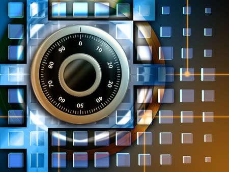 datos personales: Combinaci�n de bloqueo para proteger la informaci�n digital. Ilustraci�n digital.