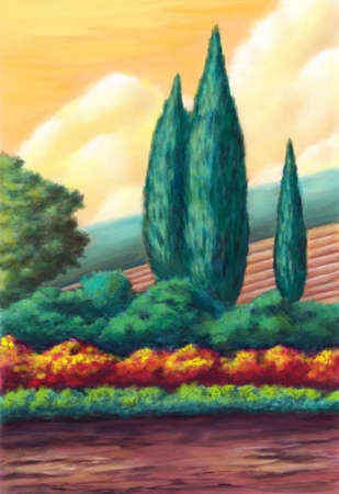 Farmland in Tuscany, Italy. Original digital illustration. Stock Illustration - 4601074