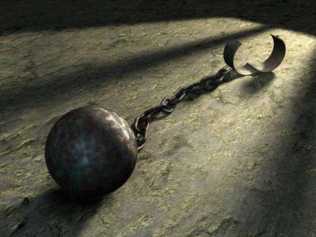 cellule prison: � billes en acier et de la cha�ne dans une cellule de prison. Digital illustration. Banque d'images