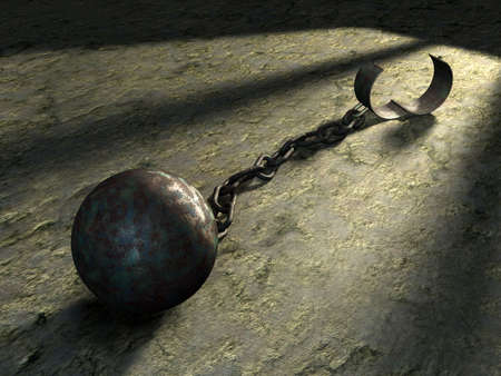 Steel ball and chain in a prison cell. Digital illustration.