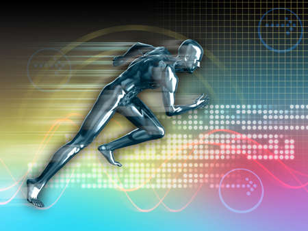 enhanced health: Conceptual runner image on high technology background. Digital illustration.