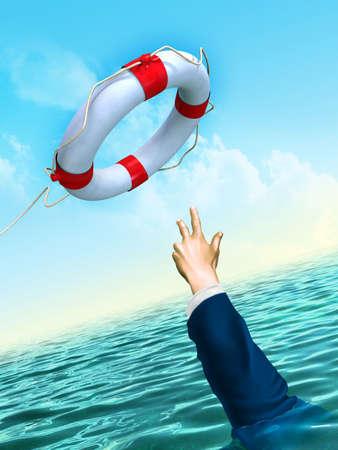 Lifesaver en zakenman: het helpen van business concept. Digitale illustratie.