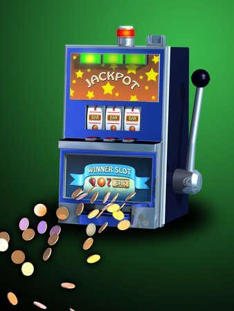las vegas city: Winning combination on a slot machine. Digital illustration, path included.