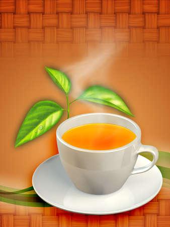 A cup of black tea and some tea leaves. Digital illustration. illustration