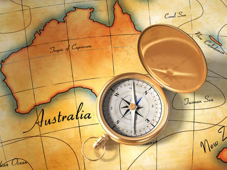 Compass and vintage map showing Australia and part of Oceania. Digital illustration.