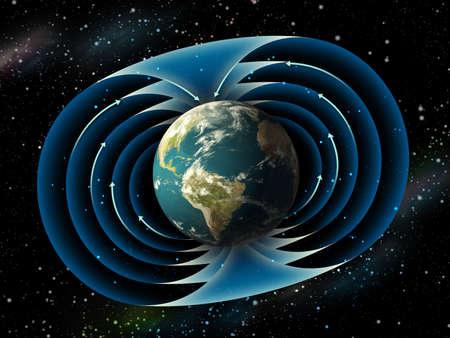 Campo magnético circundante planeta tierra. Ilustración digital.