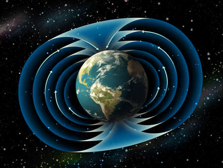 magnetic: Magnetic field surrounding planet earth. Digital illustration.