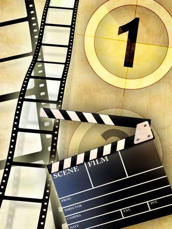 Cinema themed composition, including a slate and some blank film . Digital illustration. illustration
