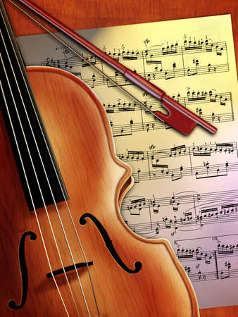 Violin close up and music sheet. Digital illustration.