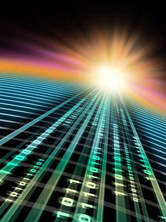 Binary data stream flowing in cyberspace. Digital illustration. Reklamní fotografie