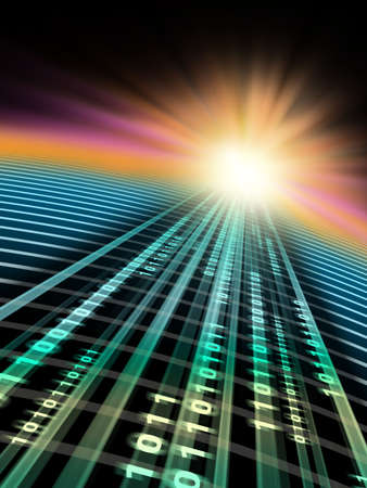 convergence: Binary data stream flowing in cyberspace. Digital illustration. Stock Photo