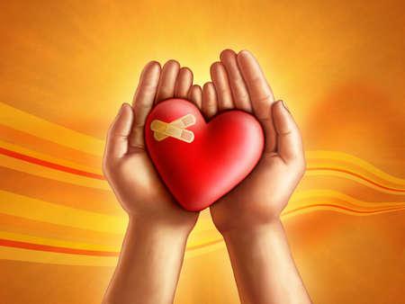 energy healing: Mani detiene un concetto rotto del focolare, la cura e la compassione. Illustrazione digitale.