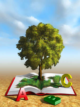 green concept: Tree emerging from an open book, knowledge concept. Digital illustration.