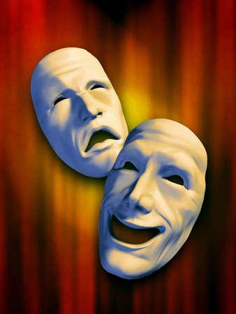 performing: Sad and happy masks on a warm background. Digital illustration.