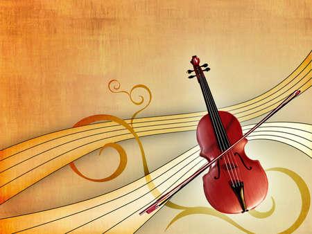 pentagramma musicale: Violino sopra un elegante sfondo caldo. Illustrazione digitale.