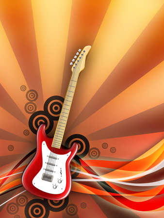 tremolo: Electric guitar on warm background. Digital illustration.