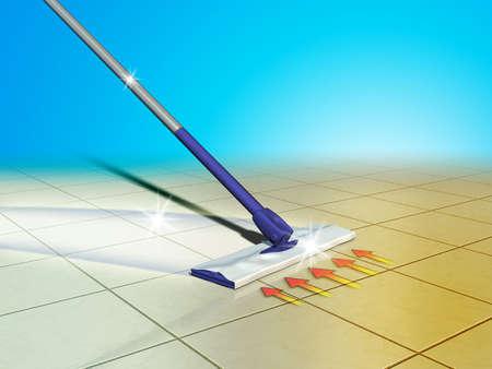dweilen: Moderne mop, hulpprogramma reiniging van vloeren. Digitale afbeelding. Stockfoto