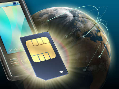 technologically: Technologically advanced sim card for mobile communication. Digital illustration.