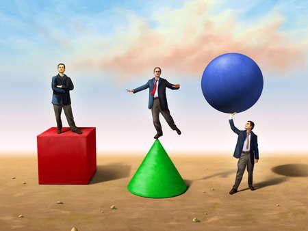 equilibrium: Businessmen using different basic shapes. Digital illustration