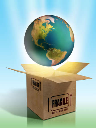 Packaging for planet Earth. Digital illustration. Stock Illustration - 6818784